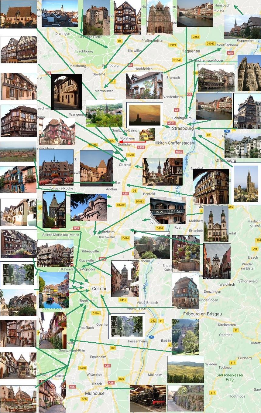 Carte Touristique Alsace Du Nord.Visite De L Alsace