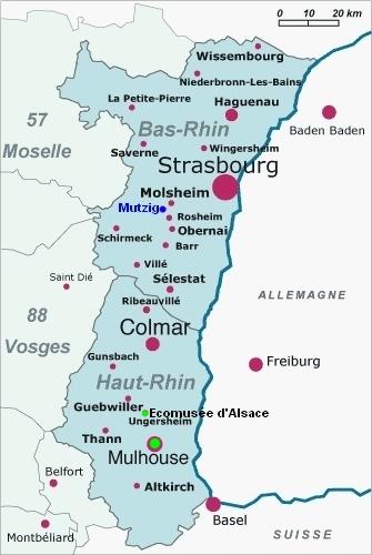 Carte Alsace Ungersheim.Mulhouse